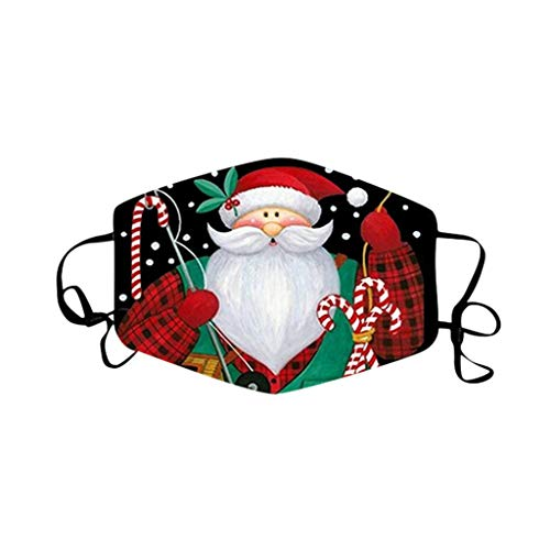 WDNMD Unisex Face Covering Outdoor Dustproof Windproof Face Balaclavas Protective Reusable Washable Bandana Christmas Faceless Doll Print Màcks for Adult (A)