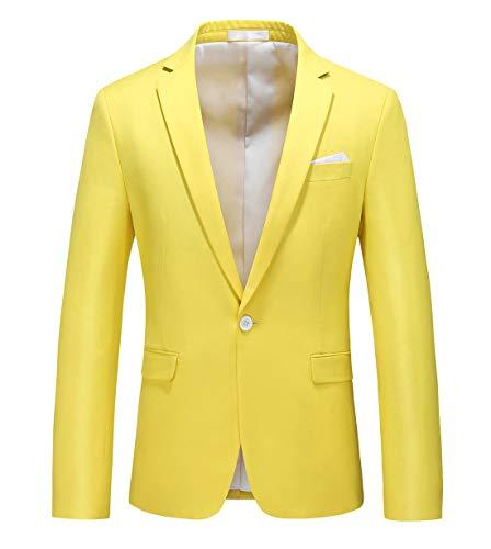 MOGU Chaqueta de Hombre con Solo Botón Blazer de Solapa para Hombre Slim Fit Moda Clasica de Moderno ES Talla 52 (Asiático 4XL) Limón