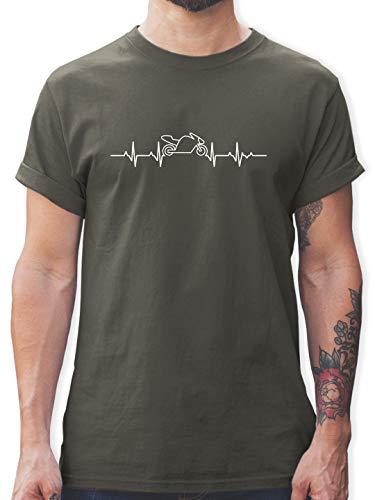 Motorräder - Herzschlag Motorrad - L - Dunkelgrau - Motorrad Tshirt blau - L190 - Tshirt Herren und Männer T-Shirts