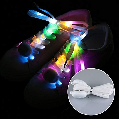AOTUO Atuo Lacets Lumineux LED Multicolores en Nylon pour Chaussures à Lacets, Seven Colors Light, 120 cm