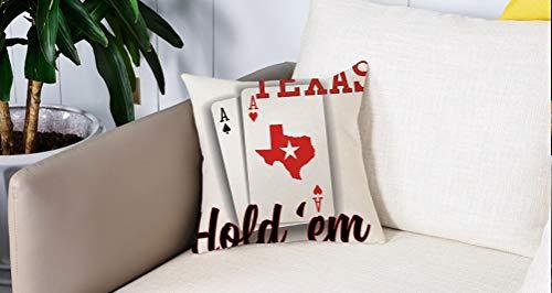 Square Soft and Cozy Pillow Covers,Decoraciones de torneos de póker, par de ases temáticos de Texas Holdem con mapa decorativo de ,Funda para Decorar Sofá Dormitorio Decoración Funda de almohada.