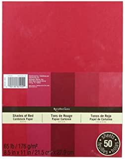 Recollections Cardstock Red 5 Shades 50 Sheets 8.5x11