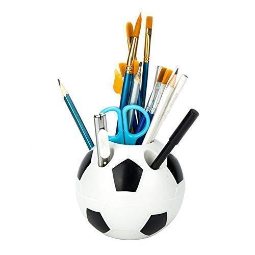 LYXMY Stift Bleistifthalter, Plastik Fußball Form Make-Up Bürste Schreibtisch Ordner, frei Ständer Fußball Zahnbürste Behälter für Make Up Pinsel, Schere - Schwarz, Einheitsgröße