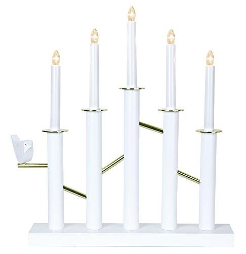 Star 644–01ULLRIK candelabro 5luces madera blanco/oro 39x 45cm
