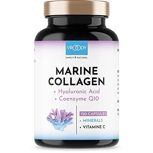 Marine Kollagen Kapseln hochdosiert 1000mg - 120 Kollagen Hyaluronsäure Kapseln hochdosiert + Coenzym Q10, Zink, Kupfer, Mangan & Vitamine C + Biotin - Frei von Zusätzen,...