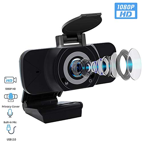 [2020 Premium Version] 1080P HD Auto Focus Webcam with Privacy Cover & Microphone,Rotatable Wide Angle Web Cam USB Camera for PC Desktop & Laptop,Video Conferencing, Online Work (with Cover)