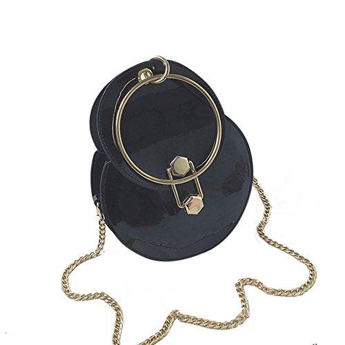 Majome Bolso redondo,Bolso de hombro de las mujeres Bolso de cuero de la PU Bolso de cadena de Metal Mango Bolsas de Mensajero Ocasionales