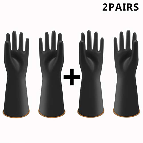 "UXglove Heavy Duty Latex Gloves, Safety Work Cleaning Protective Waterproof Industrial Rubber Gloves,14"",Black Size XL(2 Pairs)"