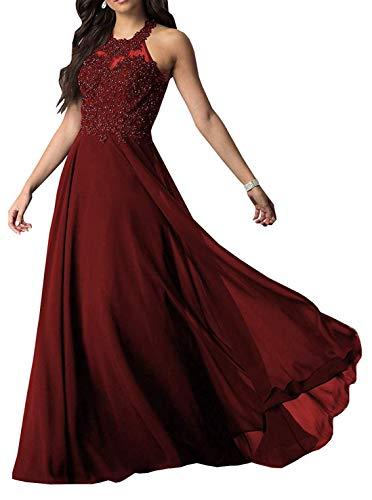 Abendkleider Neckholder A-Linie Ballkleider Chiffon Lang Spitze Party Prom Kleid Festlichkleider Weinrot EU38