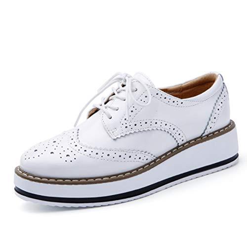 DQS Zapatos de Cuero Genuino para Mujer, Zapatos Planos Oxford con Cordones, Plataforma a Rayas, Blanco y Negro, Moda Vintage, Zapatos Brogue con Plataforma para Mujer