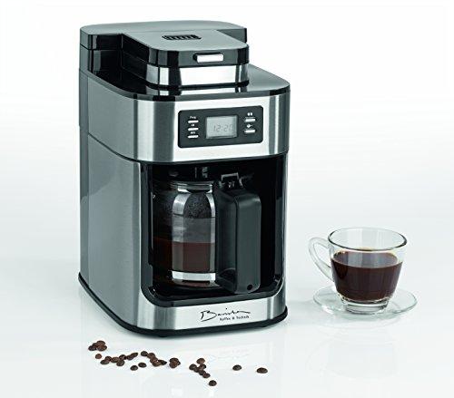 Barista 09925Cafetera con molinillo integrado | 1050W | Acero Inoxidable | Cafetera Eléctrica | Cafetera de émbolo (| Café Mit 1 KG Portorico Caffe
