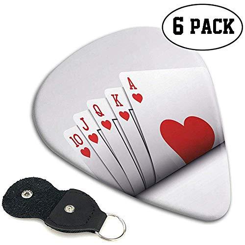 Plektren 6 Stück, Royal Flush Spielkarten Herzen Wetten Bluff Glücksspiel