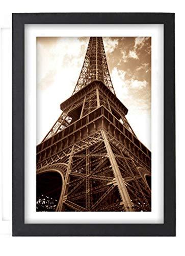 Chichengnian Marco de fotos de madera maciza para mesa y pared, marco de póster creativo HD plexiglás negro blanco regalo para padres mujer (20 x 6)