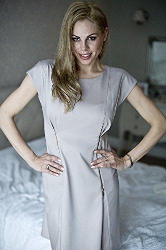 Elegantes Umstandskleid, Abendkleid, Brautkleid, Hochzeitskleid für Schwangere, Modell: Mirabel, Cappuccino - 3