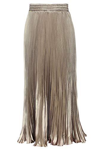 ebossy Women's Elastic Waist Satin Metallic Pleated Long Swing Skirt (One Size, Champagne)