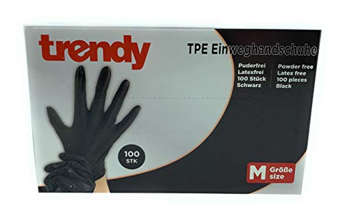 MC-Trend - 100 guantes desechables de TPE, color negro, sin polvo, sin látex, en caja dispensadora, medium