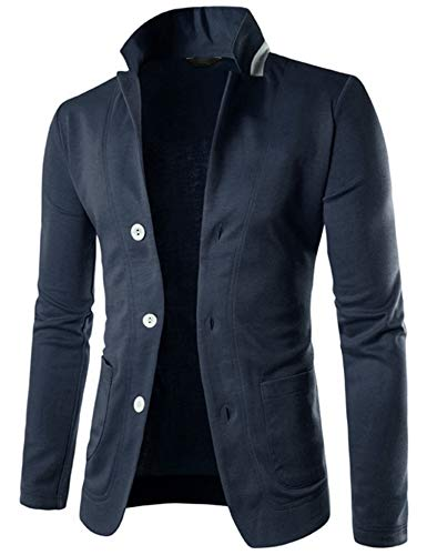 COOFANDY Mens Casual Slim Fit Blazer 3 Button Suit Sport Coat Lightweight Jacket (X-Large, Type 1 Dark Blue)