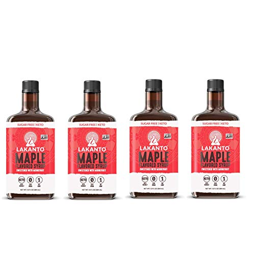 Lakanto Maple Flavor Sugar Free Syrup 4 Pack Bundle  Monk Fruit Sweetener  Keto Friendly Vegan Low Carb  Syrup for Waffles Pancakes Waffles Oatmeal  13 Oz Pack of 4  52 oz Total