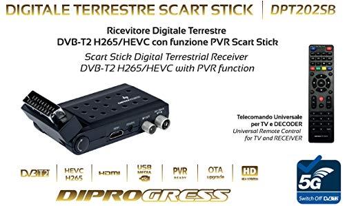 DIPROGRESS DPT202SB Decoder DVB-T2 HEVC H265 Main 10bit Scart Stick Adapter