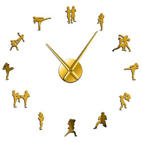 ZHAOCHENBO Reloj De Pared,Cuadro Tailandés Tradicional Lucha DIY Golden Gran Reloj De Pared Decoracion Muay Thai Kick Lucha Sin Cerco contra Reloj Reloj Reloj Grande,47 Pulg.