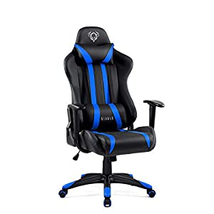 Diablo X-One Gaming Silla de Oficina Diseño Ergonomico Mecanismo de Inclinación Cojin Lumbar y Almohada Cuero Sintético (Negro-Azul)