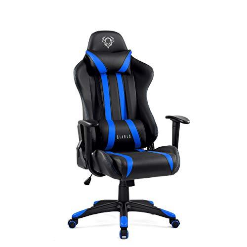 Diablo X-One Gaming Sedia da Ufficio Design Ergonomico Meccanismo di Inclinazione Cuscino Lombare Finta Pelle Portata 150 kg (Nero-Blu, Standard)