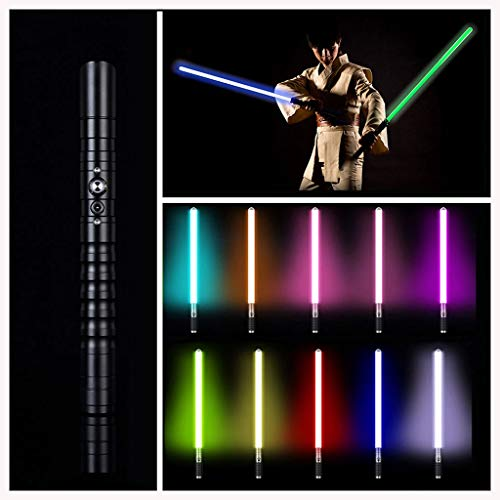 NENGGE RGB Light Sabres 11 Colores Sable de luz LED, Jedi Sith Heavy Dueling Aluminio metálico Force FX Lightsaber Sonido Brillante,Carga USB Espada Resplandor,Negro,39.37in