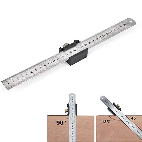 TBoonor Streichmaß Anschlaglineal 30cm Anreißlineal Edelstahl linealanschlag Anreisswerkzeug mit extra stabilem Aluminiumlegierung Lineal Stabil für Handwerker und Heimwerker