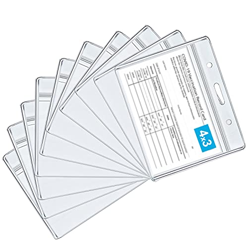 10 Pack CDC Vaccination Card Protector 4X3 in Immunization Record Card Holder, Transparent Soft and Thick Vinyl Plastic Sleeve, Waterproof and Sealable Badge ID Name Tag Suitable for Travel Activities