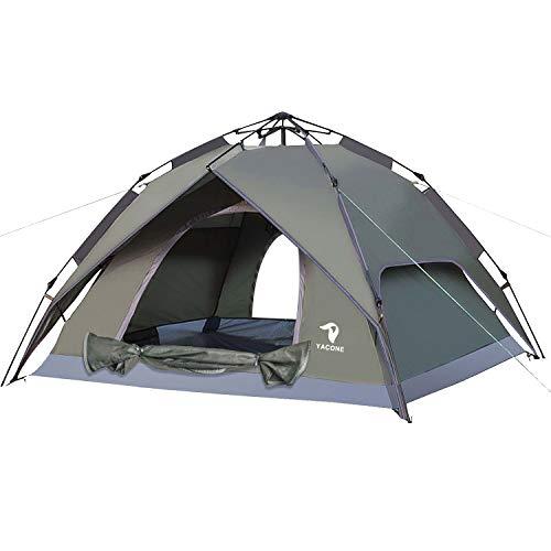 YACONE ワンタッチテント テント 3~4人用 ワンタッチ 2WAY テント 設営簡単 防災用 キャンプ用品 撥水加工 紫外線防止 登山 折りたたみ 防水 通気性 アウトドア (アーミーグリーン new)