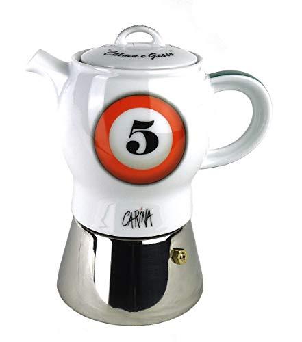 Moka Consorten Espressokocher »Carina biliardo« | Edelstahl und weißes Porzellan | Füllmenge: 210 ml | Made in Italy
