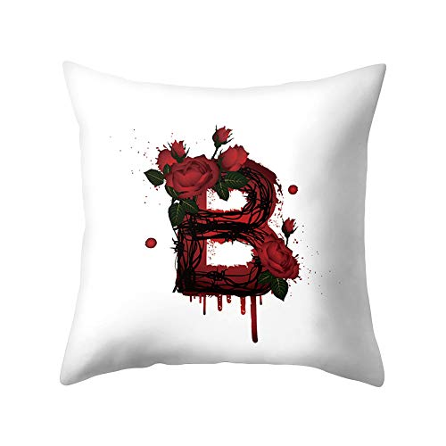Preisvergleich Produktbild JujubeZAO Kissenbezug,  englische Buchstabe,  Blume,  Rose,  Kissenbezug,  Sofa,  Bett,  Auto,  Büro,  Dekoration für Zuhause B