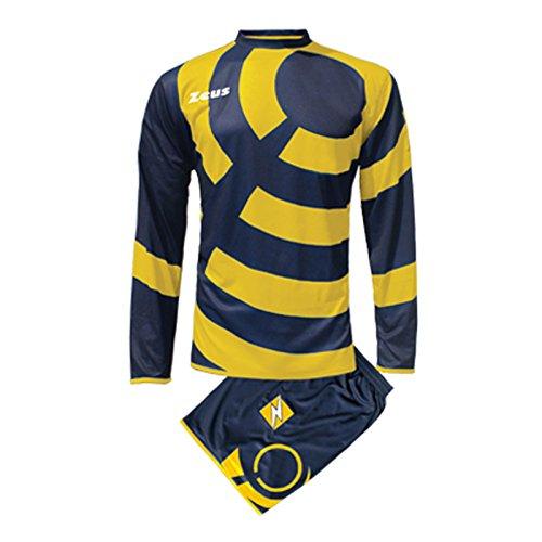 Zeus Herren Kinder Set Trikot Shirt Hosen Klein Armel Kit Fußball Hallenfußball KIT Ring BLAU GELB (XL)