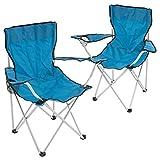 2er Set Angelstuhl AngelhockerFaltstuhl Campingstuhl Klappstuhl mit Armlehne Getränkehalter 86x42x42 cm bis 100 kg belastbar incl. Tragetasche Farbe wählbar (blau)