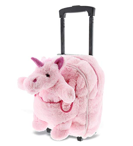 DolliBu Unicorn Plush Trolley & Purse Set - 3-in-1 Kids Trolley, Backpack, Pink Unicorn Purse, Soft Plush Backpack on Wheels, School Rolling Bag, Travel Luggage with Removable Plush Toy Purse - 15