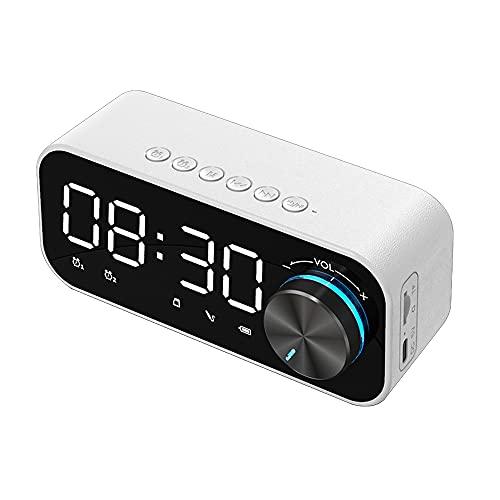 Staright BT 5.0 Altavoz LED Pantalla Lámpara de Noche 3 Niveles de Brillo Ajustable Doble Alarmas Controlador de Volumen Mando TF Tarjeta Tocar, Blanco