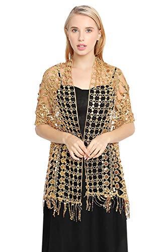 YAOMEI Mujer Bufanda Chales Estolas, 1920 Lentejuelas abalorios con cuentas Mantón Estolas Fulares Bufanda Pañuelo bodas nupcial bridemaids partido (Oro)
