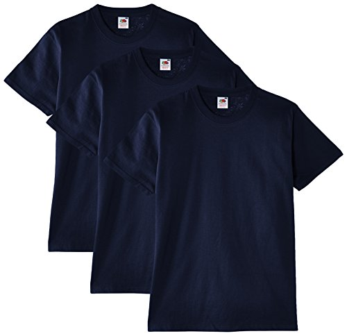 Fruit of the Loom Herren T-Shirt, 3er Pack, Gr. Large, Blau - Marineblau