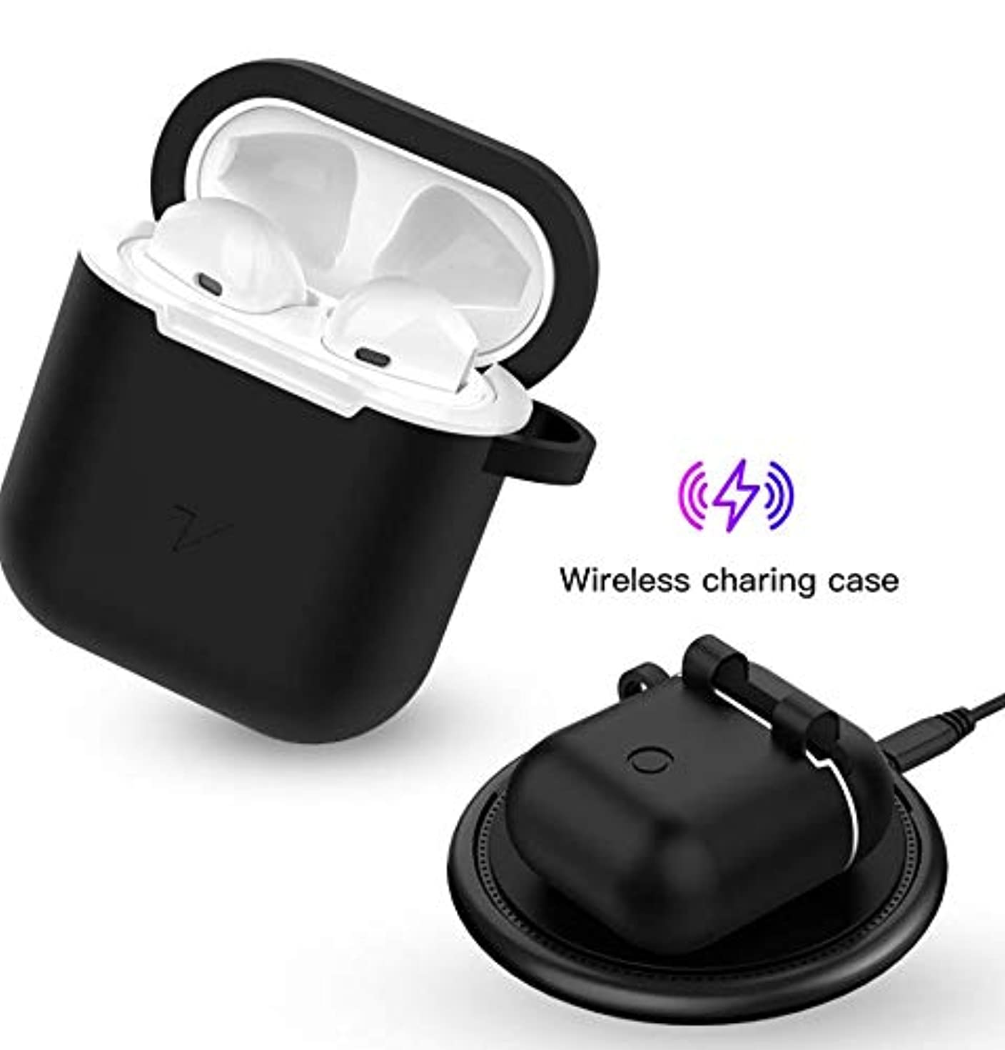 Wireless Charging Case for Airpods,Uverbon Qi Wireless Charger Cover for Airpods Silicone Protective Carrying Case Compatible with Qi Wireless Charger(Black)