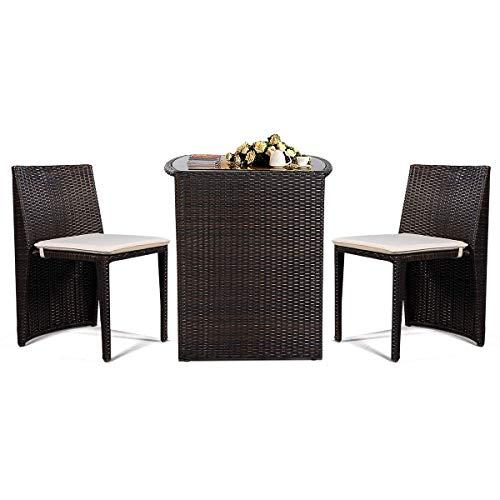 Goplus Wicker Bistro Set, Rattan Furniture Set 3 Piece Dining Table for Outdoor Patio Lawn Garden