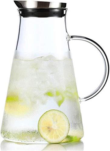 Tetera Tetera Taza 2,0 l / Litro Agua Jarra de vidrio de borosilicato Jug tetera de jarra con la tapa Ice Tea jarra de agua de la jarra de té helado y jugo Bebidas - 100% BPA (sola olla Sin Copa)