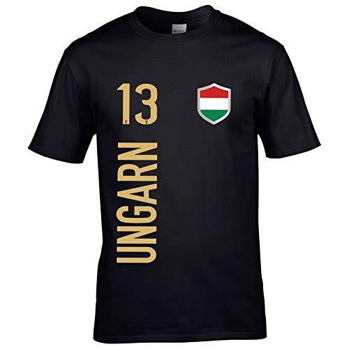 FanShirts4u Kinder Fanshirt Trikot Jersey UNGARN Hungary T-Shirt inkl. Druck Wunschname u. Wunschnummer EM WM (5/6 Jahre 110-116 cm, UNGARN/Schwarz)