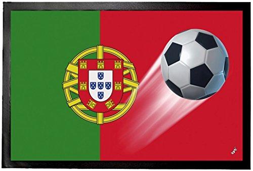 1art1 Fußball - Portugal-Länder-Flagge Fußmatte Innenbereich & Außenbereich | Design Türmatte 60 x 40 cm