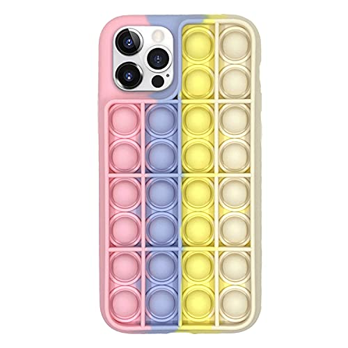 Fidget Toy Phone Case, Silicone Shockproof Phone Cover Push Pop Bubble Sensory Fidget Toy Stress Relief Phone Protective Case for iPhone 7,8,XR,11,11 Pro (for iPhone XR, Pink White)