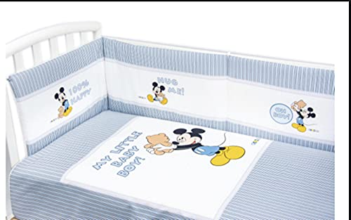 Couette Disney avec protège-poignets pour lit bébé avec barreaux (bleu ciel)