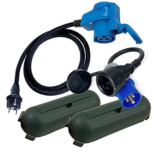 CEE Adapter Stecker Winkelkupplung Schutzbox Set Camping Boot Wohnmobil Garten H07RN-F 3x2,5mm² 230V 16A