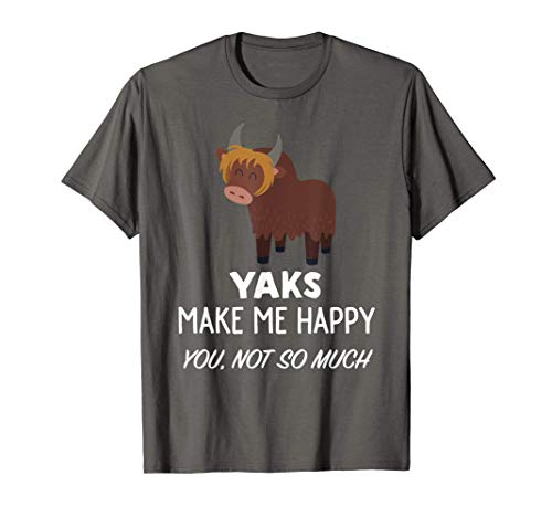 Yak Lover Design | Yaks Make Me Happy Maglietta