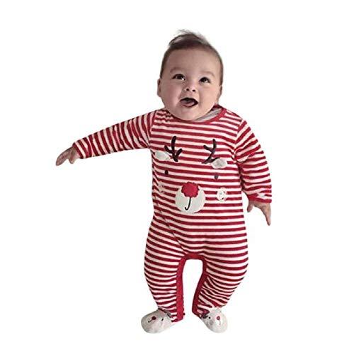 Mameluco Estampado a Rayas Pelele recién Nacido bebé niño niña Disfraz Navidad de Dibujos Animados Onesies Mono con Manga Larga para bebé Ropa casera