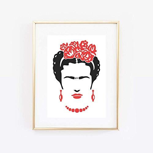 Din A4 Kunstdruck ungerahmt - Frida Kahlo Portrait Grafik modern Künstlerin Star Ikone Druck Poster Bild