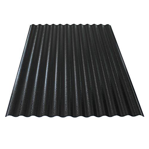 KAISER plastic® Wellplatte | Xtra Strong (PC) | C-Struktur und schwarz | 0,8mm Stärke | Sinus 76/18 | 90 x 120 cm | 1 Stk. | Made In Germany
